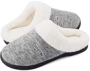 WHITIN Women's Knit Memory Foam Bedroom Shoes, Size 12-13 Ladies Winter Warm Slip On Casual Home Indoor Soft Sleepers pantunflas de mujer Wide Girl Plush with White Fur Flat Fuzzy Slippers Grey 42-43