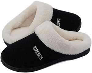 WHITIN Women's Knit Memory Foam House Slippers, Size 8-9 Ladies Warm Fuzzy Slip On Winter Outdoor Casual Home Comfortable Flat Wide Soft Plush with White Fur Girl's Sleepers Bedroom Shoes Black 38-39