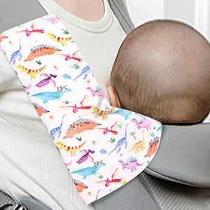 SWESEN Baby Suckpads for Boys and Girls, 2 Pack Dinosaur Infant Reversible Corner Suckpads, Newborn Reach Straps Cover, Ultra-Soft, White