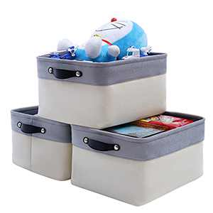 FENQDOOU Storage Bins, Open Storage Baskets with Sturdy Handles, Collapsible 3 Pack Storage Box Suitable for Home, Closet, Office, Nursery ,Shelf 15.7x11.8x8.2 inches(Grey/Beige)