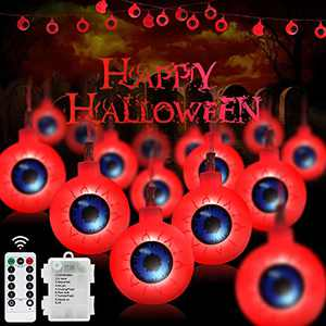 30 LED Halloween Eyeball String Lights-Upgraded 16FT Outdoor Halloween Lights Waterproof, Remote with 6-Hours Timer, 8 Flashing Modes, Battery Operated for Garden, Party, Indoor Decoration (Red)