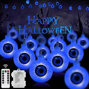 30 LED Halloween Eyeball String Lights-16FT Outdoor Halloween Lights Waterproof, Remote with 6-Hours Timer, 8 Flashing Modes, Battery Operated, Dimmable for Garden, Party, Indoor Decoration (Blue)