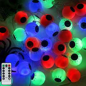 16FT Halloween Eyeball String Lights-30 LED Waterproof Outdoor Halloween Lights, Remote with 8 Flashing Modes, 6-Hours Timer, Battery Operated for Garden, Yard, Party, Indoor Halloween Decor (Multi)