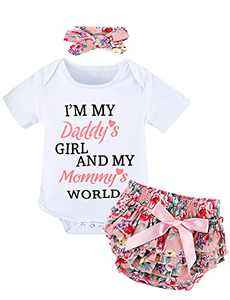 COSLAND Baby Girl Outfit Infant Bodysuit 3PCS Romper Ruffle Shorts Sets White 0-3 Months