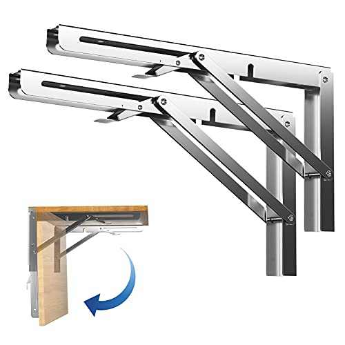 12 inch Sturdy Folding Shelf Brackets Stainless Steel, Heavy Duty Wall Mounted Triangle Brackets for Shelves, Space Saving for Table Work Bench, Pack of 2 ARANA