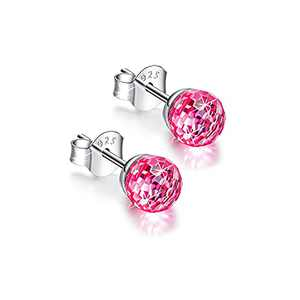 KELOWNA Crystal Earrings For Women,925 Sterling Silver with Austrian Crystals Earrings For Women, Birthday,Wedding, Graduations And Anniversary Women Earrings Gift (6mm light red)