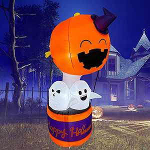 Trystway 6FT Halloween Inflatable Pumpkin Hot Air Balloon Ghosts Decoration Led Light Blow Up Decor for Yard Garden Lawn Party Indoor Outdoor Holiday
