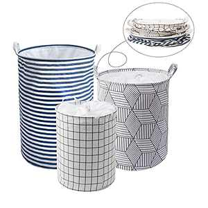 3 Pack Freestanding Laundry Basket Collapsible Large Clothes Basket with Easy Carry Extended Handles(Large, Medium, Small)