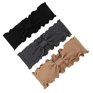 Boho Headbands for Women Non Slip 3 Pack, Fashion Knotted Stretchy Head Bands Women Hair, Wide Turban Knit Headband with Wavy Edge Vintage Yoga Workout, Solid Color