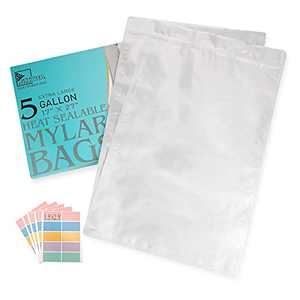 """20 PCS Mylar Bags 5 Gallon Heat Sealable Bags with Labels, Zipper Pouches Resealable for Long Term Food Storage(17""""x27"""", Extra Thick) (20)"""