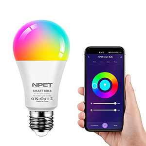 Smart LED Bulbs, Dimmable Color Changing Bulb with WiFi Control,Music Sync,E26 Base,9W RGBCW Decorative Lighting for Bedroom,Living Room,Desk Lamp
