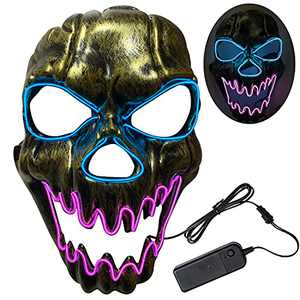Halloween Scary Mask Cosplay Led - LED Light up Masks Scary Purge Mask 3 Modes Adjustable Holiday Masquerade Cosplay Halloween Festival Party (Pink)