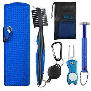 OUYILE Golf Accessories for Men,Golf Towel,Golf Club Brush,Golf Club Groove Sharpener and Divot Repair Tool with Golf Pouch Bag,Golf Club Cleaner,Golf Accessories Kit