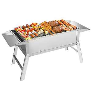 JooMoo Portable Charcoal Grill - Outdoor BBQ Grills Cooking, Stainless Steel Folding Camping Grill, Large Grill for Campfire, Picnic, Hiking