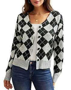 Women Plaid Long Sleeve Cover Up Knitted Black V Neck Sweater Short Cardigan 3 L