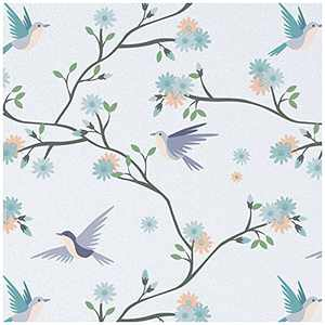 Window Privacy Film Stained Glass Window Clings UV Sun Blocking Heat Control Decorative Coverings Non-Adhesive Bird Pattern Vinyl Stickers Opaque Frosted Decals for Bathroom (17.5 x 78.7 Inch,Purple)
