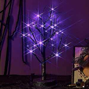 Birchlitland Lighted Spooky Halloween Decoration Tree 24Led Purple Lights 18IN Battery Powered with Timer Lit Halloween Decorations Indoor Tabletop Black Tree for Office Christmas Halloween Decor