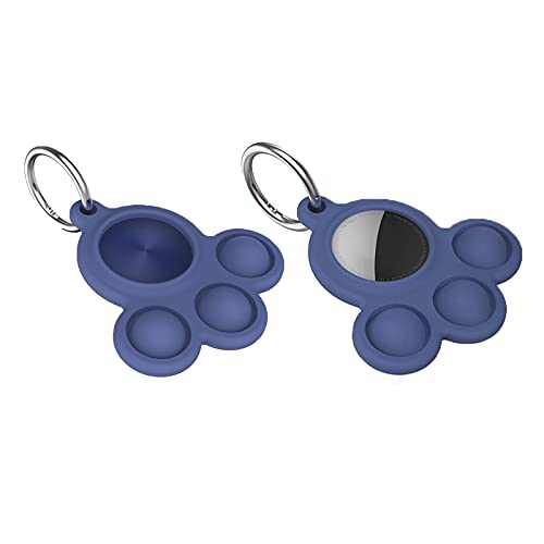 2 Pack AirTag Case Holder with Key Ring, AirTag Dog Cat Collar Holder,Tecogue Soft Silicone Apple Airtag Protective Case Cover (Blue)
