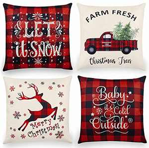 Christmas Throw Pillow Covers 18x18 Inch Set of 4, Linen Christmas Pillowcase Black and Red Buffalo Plaid Pillow Case Farmhouse Christmas Decorations for Home & Sofa