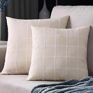 Throw Pillows Covers, 2 Pack Retro Farmhouse Linen Jacquard Pattern Outdoor Square Pillow Cushion Cases Buffalo Check Plaid Decorative Pillow Covers for Couch Bedroom Sofa