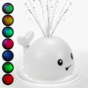 josid Baby Bath Toys, Light Up Bath Toys with LED Light, Baby Pool Toys Bathtub Toys for Toddlers 1-5 Girl and Boy, Bathroom Baby Games,Whale Spray Water Bath Toy (White)