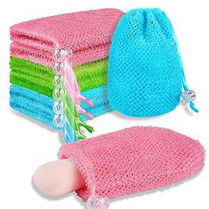 6 Pieces Soap Bag Soap Saver Bags Exfoliating Mesh Soap Pouch Drawstring Exfoliator Sponge Soap Pocket Body Scrubber Sponge Soap Holder Bubble Foam Nets for Shower Foaming Exfoliating, 4 x 6 Inch
