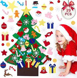 Felt Christmas Tree for Toddlers, 3.2ft DIY Christmas Tree with 39 Pcs Cute Christmas Detachable Ornaments Kit, Wall Hanging Decorations Set Crafts Gifts for Home, Door, Classroom & Party Supplies