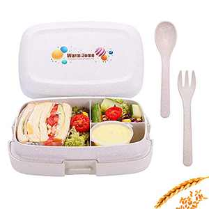 Bento Lunch Box-3 Compartment Divided Kids Lunch Container-Leakproof, Microwavable, Freezable-for Salad, Sandwich, Fruit, Meal Prep-with Reusable Fork and Spoon-Wheat Fiber Material 1000ml (Khaki)