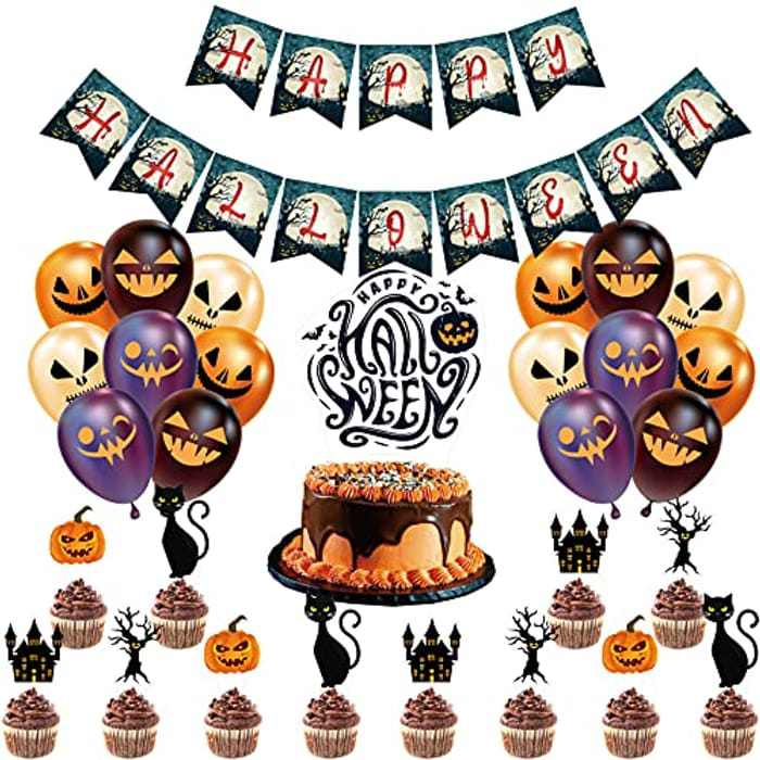 TEPILOS Halloween Decorations, 47PCS Halloween Balloons Arch Garland Kit with Black and Orange Latex Balloons Cake Toppers for Outdoor Indoor Halloween Party Decor