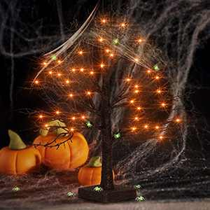 FastDeng 1.5Ft Black Halloween Tree, Black Glitter Spooky Tree with 36 Orange Lights, Spider Web and 10 Luminous Spiders, Battery Powered Timing Tabletop Tree for Indoor Outdoor Halloween Decoration