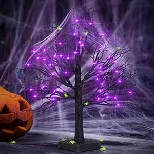 FastDeng 36 Purple LEDs Black Halloween Tree, 1.5Ft Black Glitter Spooky Tree with Spider Web and 10 Luminous Spiders, Battery Powered Timing Tabletop Tree for Indoor Outdoor Halloween Decoration