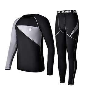 Men's Thermal Underwear Fleece Lined Performance Fleece Tactical Sports Shapewear Thermal Set (Black04, Large)