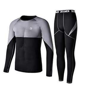 Men's Thermal Underwear Fleece Lined Performance Fleece Tactical Sports Shapewear Thermal Set (Black03, Medium)