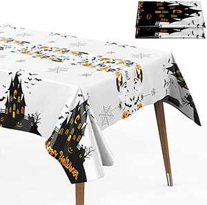 Halloween Haunted Tablecloth 2 Packs 52 x 109 inches Rectangle Halloween Table Covers Premium Plastic Halloween Disposable Tablecloth for Halloween Party Decorations