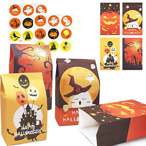 Halloween Treat Bags, 12 Pcs Halloween Goody Gift Bags(Thicker Style) Small Paper Treat Bags for Trick or Treat, Gifts, Snacks, Candies, Party Supplies, 18 Top Seal Stickers Included