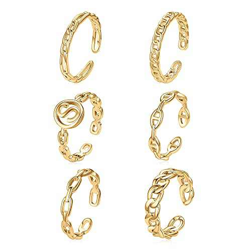 6 Pcs Gold Initial Stackable Rings Set for Women,14K Gold Plated Initial Open Rings Adjustable Open Initial Stackable Rings Gold Rings for Women Teen Girls(S)