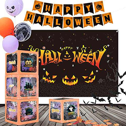 PYCALOW Halloween Party Decorations - Halloween Party Supplies Included Backdrop, Balloons Boxes, Light Strip, Spider Web, 3D Bats, Banner, Maple Leaves, Great Indoor Outdoor Halloween Decorations
