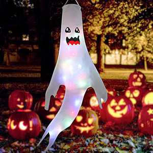 Qaxlry Halloween Ghost Shape Windsock Flag with Colorful LED Lights, Halloween Outdoor Hanging Decorations for Yard Garden Patio Pathway Party Supplies (Luminous Cute)