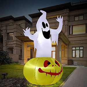 FastDeng 6FT Halloween Inflatables Ghost with Pumpkin-Halloween Blow Up Yard Decorations with Build-in Bright LED Lights, Cute and Scary for Indoor Outdoor Halloween Decorations, Party, Lawn, Garden