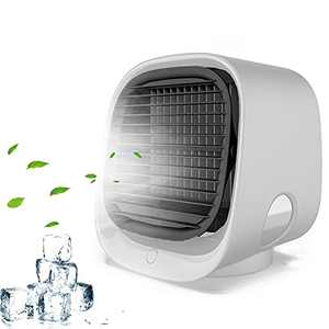 Portable Air Conditioner, Personal Air Cooler with Humidifier Filtration Evaporative, USB Mini Air Conditioner Fan 3 Speed Desktop Cooling Fan With Colorful LED Light Super Quiet for Room, Office