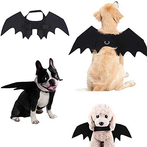 Pet Cat Dog Bat Wings,Halloween Party Decoration,Puppy Collar Leads Cosplay Bat Costume,Cute Pet Dress Up Accessories-M