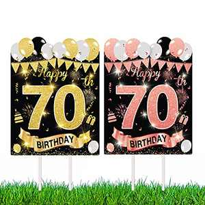 Wuvvez Double Side Printed 70th Birthday Anniversary Yard Signs with Stakes and Outdoor Lawn Decorations (1pcs)