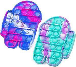 Lrogoe 2 Pcs Tie-dye pop Bubble Fidget Toy, Silicone Squeeze Sensory Toy Relieve Emotional Stress for Kid Adult
