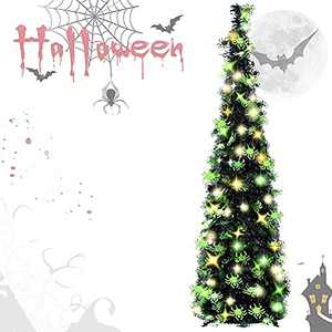 EEX 5ft Black Tinsel Halloween Christmas Tree with Plump Shiny Spider Sequins,Sequin Pensil Tree for Apartment Home Office Store Holiday Decorations with 100 Color Lights, 3 Battery Operated 2 Modes