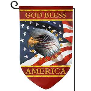 YIEASY American Eagle Garden Flag - God Bless America Yard Banner 12.5x18 inch, Double Sided Home Welcome Banners Fade Resistant for Home Holiday