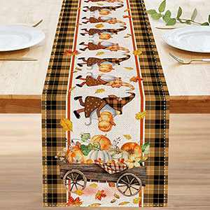 KamaLove Fall Table Runners 72 inch, Burlap Autumn Table Runners, Rustic Dresser Scarves Gnome Buffalo Plaid Harvest, Farmhouse Kitchen Dining Home Decor for Parties Indoor and Outdoor