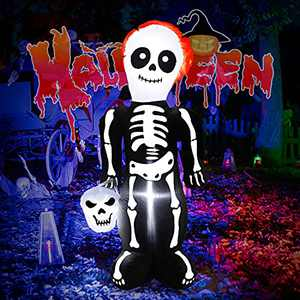 FastDeng 5Ft Halloween Inflatables Tall Skeleton Ghost with Skull, Build-in Static LED Lights, Halloween Lighted Blow up Yard Decorations Indoor Outdoor Party, Garden, Lawn