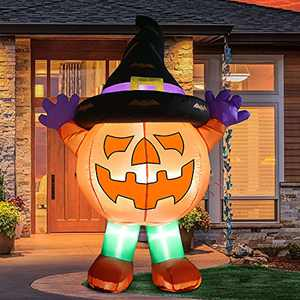 FastDeng 6Ft Halloween Inflatables Pumpkin Man with Magic Hat - Outdoor Decorations with Build-in LEDs for Yards Patio Indoor Outdoor Party Holiday Halloween