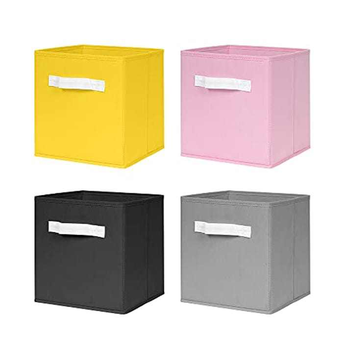 nozama Foldable Storage Cubes Set of 4 - Fabric Cube Boxes Household Cube Storage Box for Home Closet, 4 Pack Cloth Storage Bin with Dual Handles for Home Closet Drawers Organizer