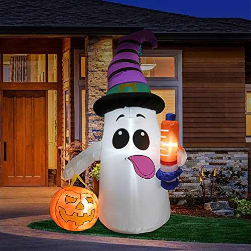 FastDeng 5Ft Halloween Inflatables Ghost with Syringe and Pumpkin - Outdoor Decorations with Build-in LEDs for Yards Patio Indoor Outdoor Party Holiday Halloween…